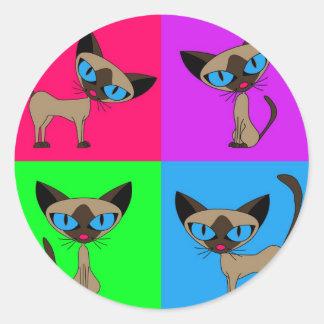 Cute Siamese Cats Round Sticker