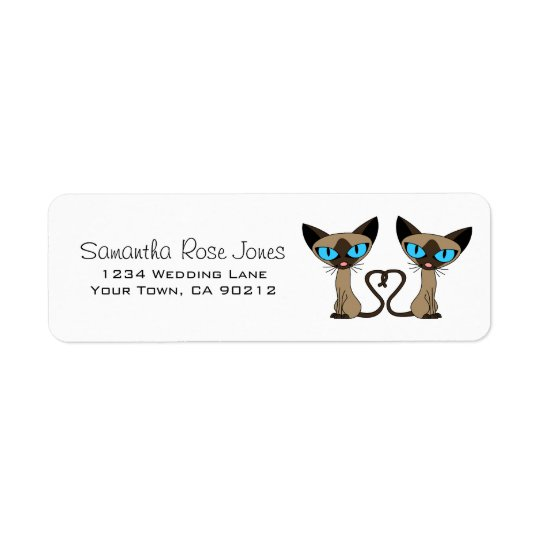 Cute Siamese Cats Tail Heart Custom Address Label