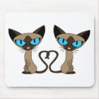 Cute Siamese Cats Tail Heart Mouse Pad