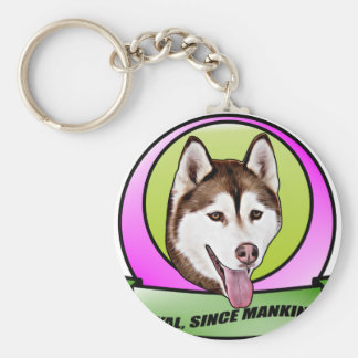 Cute Siberian husky dog Basic Round Button Keychain