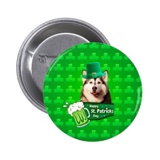 Cute Siberian Husky Dog Hat St. Patrick's Day 2 Inch Round Button