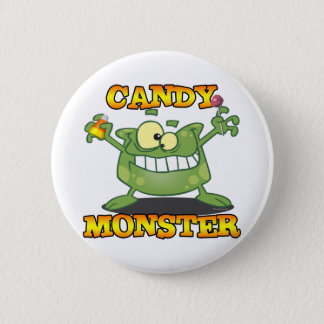 cute silly candy monster cartoon for halloween 2 inch round button