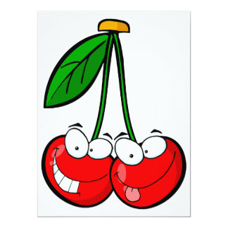 cute silly cartoon character cherries cherry 6.5x8.75 paper invitation card