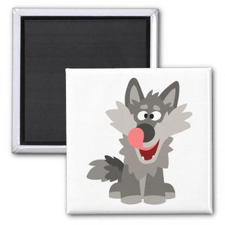 Cute Silly Cartoon Wolf Square Magnet