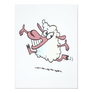 """cute silly happy lamb cartoon character 6.5"""" x 8.75"""" invitation card"""