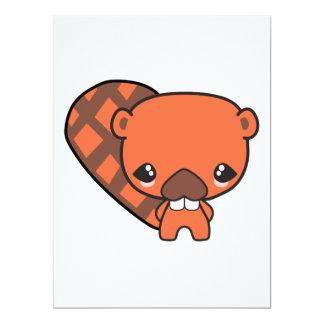 "cute silly kawaii beaver 6.5"" x 8.75"" invitation card"