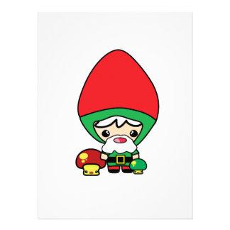 cute silly kawaii garden gnome and mushrooms custom invites