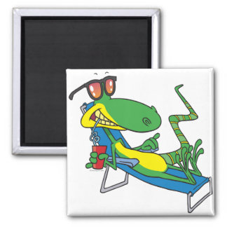 cute silly lounging sun lizard cartoon magnet