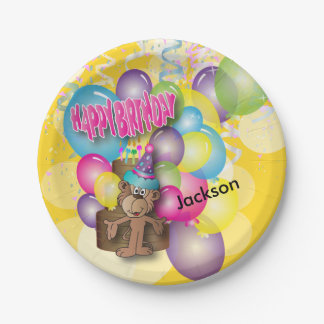 Cute Silly Monkey Yellow Birthday Party Paper Plate