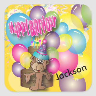 Cute Silly Monkey Yellow Birthday Party Square Sticker