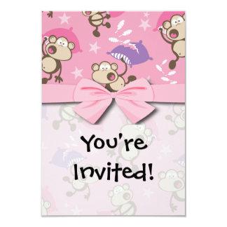 "cute silly pillow fighting fight monkeys  cartoon 3.5"" x 5"" invitation card"
