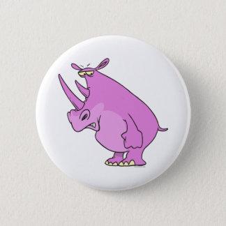 cute silly pink rhino rhinoceros cartoon 2 inch round button
