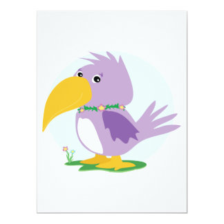 "cute silly purple parrot vector cartoon 6.5"" x 8.75"" invitation card"