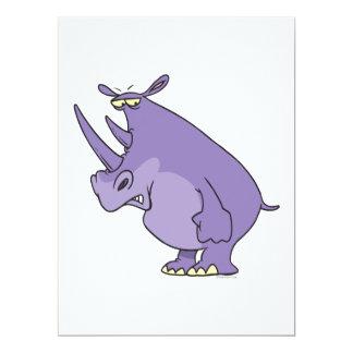 """cute silly purple rhino rhinoceros cartoon 6.5"""" x 8.75"""" invitation card"""