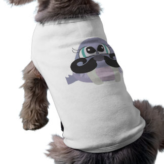 cute silly walrus cartoon with mustache doggie tee shirt