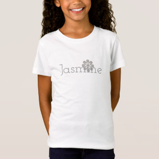 Cute Silver Flower Girls Name Tee