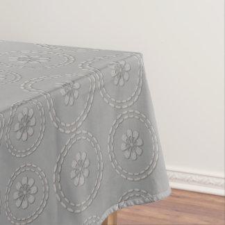 Cute Silver Grey Flowers Pattern Table Cloth