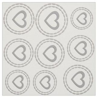 Cute Silver Hearts  Pattern Fabric