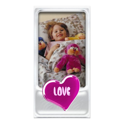 Cute silver photo frame with heart - Photo Card