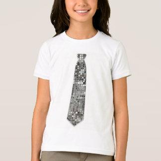 Cute Silver Sequins Look Faux Fake Tie T-Shirt