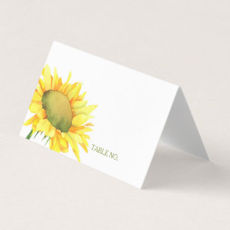 Cute Simple Country Sunflower Wedding Place Card