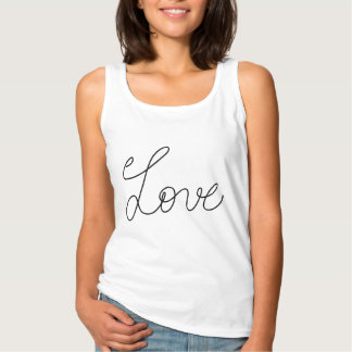 Cute Simple Love Typography Script Tank Top