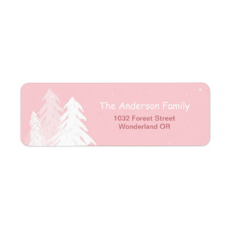 Cute Simple Pink Winter Onederland Address Label
