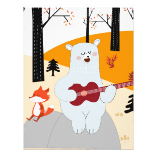 Cute sing a summer song fox wolf and teddy bear letterhead