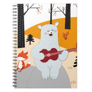 Cute sing a summer song fox wolf and teddy bear notebook