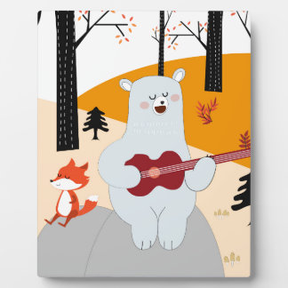 Cute sing a summer song fox wolf and teddy bear plaque