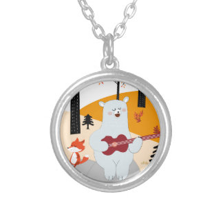 Cute sing a summer song fox wolf and teddy bear silver plated necklace