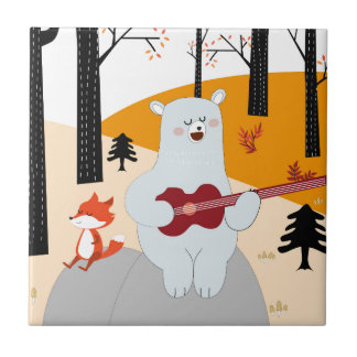 Cute sing a summer song fox wolf and teddy bear tile