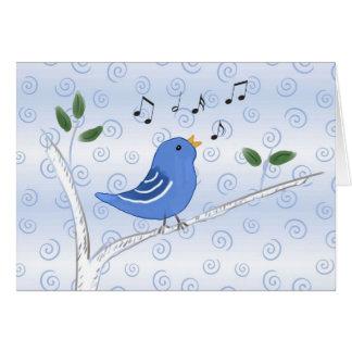 Cute Singing Blue Bird Note Card