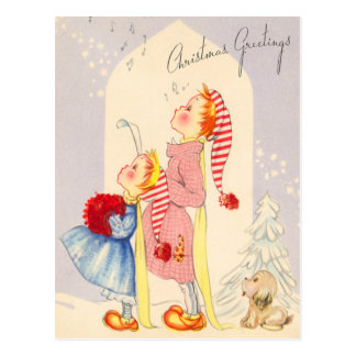 Cute Singing Christmas Carolers Postcard