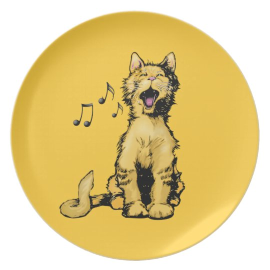 Cute singing orange cat drawing with musical notes plate
