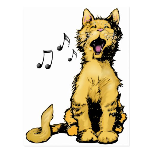 Cute singing orange cat drawing with musical notes post cards