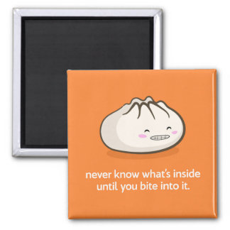 Cute Siopao Character Encouraging Square Magnet