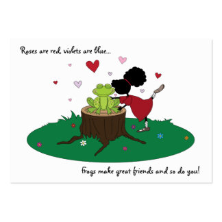 Cute Sister Kisses a Frog Valentines Card for Kids Large Business Card