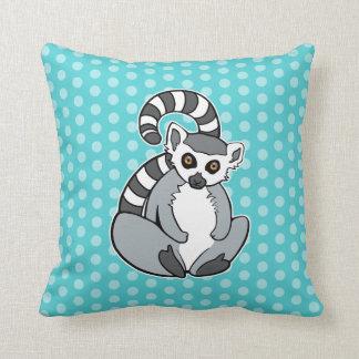 Cute Sitting Ring-Tailed Lemur On Polka Dots Throw Pillow