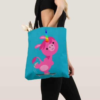 Cute Skateboarding Cartoon Unicorn Tote Bag