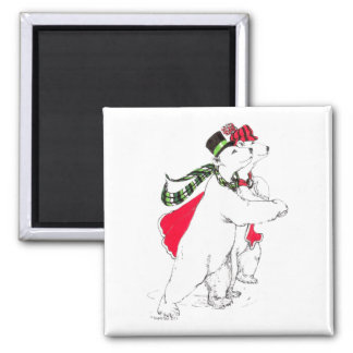 Cute Skating Polar Bears Christmas Holiday Magnet