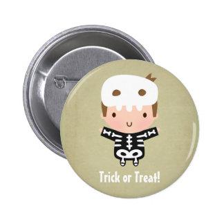 Cute Skeleton Boy Treat or Treat Kids Halloween 2 Inch Round Button