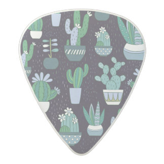 Cute sketchy illustration of cactus pattern acetal guitar pick