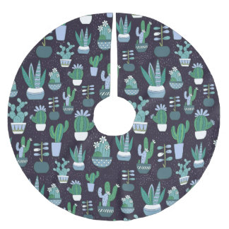 Cute sketchy illustration of cactus pattern brushed polyester tree skirt
