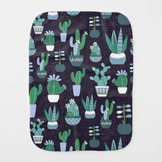 Cute sketchy illustration of cactus pattern burp cloth
