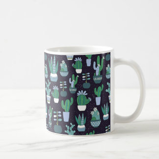 Cute sketchy illustration of cactus pattern coffee mug