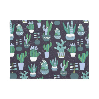 Cute sketchy illustration of cactus pattern doormat