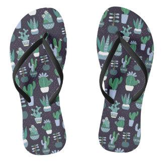 Cute sketchy illustration of cactus pattern flip flops
