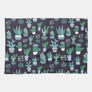 Cute sketchy illustration of cactus pattern kitchen towel