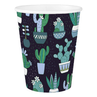 Cute sketchy illustration of cactus pattern paper cup